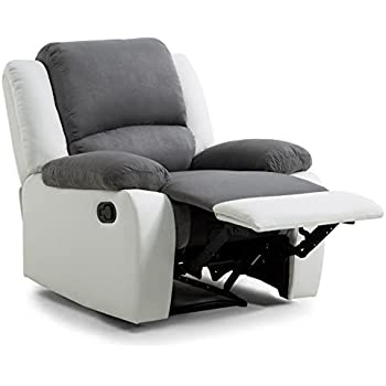 Usinestreet Fauteuil Relaxation 1 place Microfibre Grise Simili