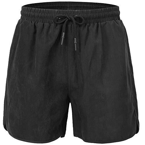 Jungen Surfbrett Swim Trunk (JINSHI Herren Badehose, schnell trocknend, Strandmode, Surfbrett, Shorts mit Netzfutter - Schwarz - Large)