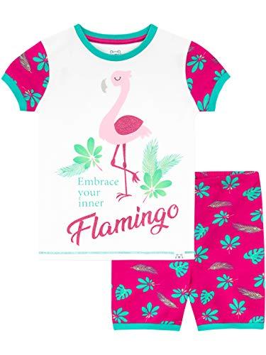 Harry Bear Mädchen Flamingo Schlafanzug Kurz Rosa 158 - Rosa Kurzer Schlafanzug