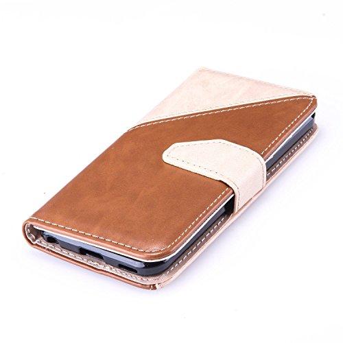Meet de Cuir couleur Hit / Flip Cover / Case / Étui à rabat Coque / Housse en cuir / Etui portefeuille cuir PU / Flip / Magnétique / Portefeuille / Etui pour Apple iPhone 6 / iphone 6S, Protection Coq Milky + brun