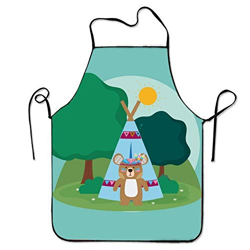2019 Apron Adjustable Durable Aprons Bear Cute Hippie Gardening Stitched Edges (Hippie Girl Cute)