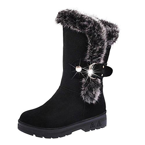 Damenwinterstiefel | Klassische Wildleder FlacheStiefel | Biker outdoor Boots | Slip-On Schnee Freizeit Schuhe | Faux Pelz Stiefeletten mit klettverschluss | FORH (Schwarz, 40) (Manschette Wildleder-boot)