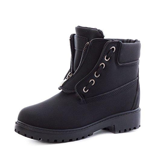 trendige-damen-winter-boots-schnur-stiefel-stiefeletten-mit-reissverschluss-gefuttert-schwarz-39