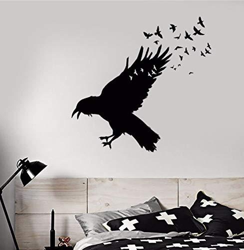 Hwhz 57 X 55 Cm Vinyl Wall Decal Schwarz Raven Vogelschwarm Wandaufkleber Gotik Home Decor Vögel...