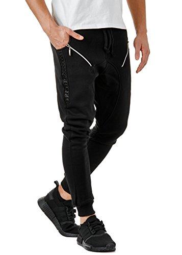 EightyFive Herren Jogginghose Sweatpants Zipper Gesteppt mit Seitentaschen Cargo Schwarz Weiß Grau EF305, Größe:M, Farbe:Schwarz (Swag)