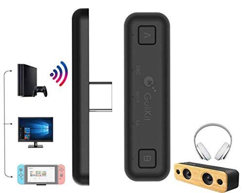 Ronnie Gulikit NS07 Route Air Adaptateur Bluetooth pour Nintendo Switch/Switch Lite/ PS4/ PC, USB Type-C Transmetteur Audio sans Fil avec aptX Faible Latence (Noir)