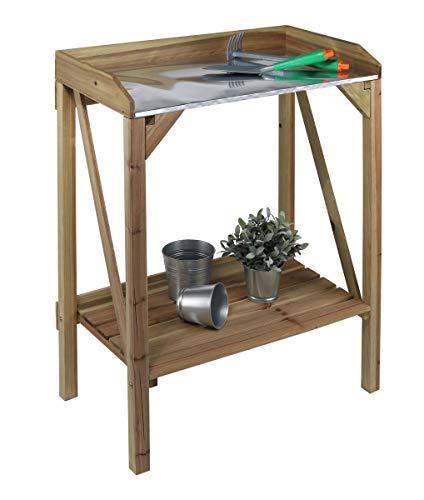 bonsport Pflanztisch aus wetterfestem Holz – Gärtnertisch mit Ablage und Zinkplatte