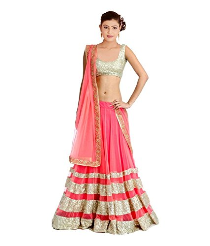 OSLC Peach Net Lehnga Choli Women's Party Wear New Collection Special Sale...