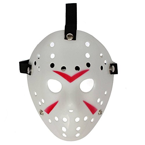 Ultra 1 x traditionelle weiße Fancy Dress Jason X vs. Freddy Halloween Freitag der 13. Hockey Maske Erwachsene PVC Qualität Maske mit Klettverschluss elastische Gurt Fancy Gesicht Maske (Hockey Voorhees Jason Maske Deluxe)