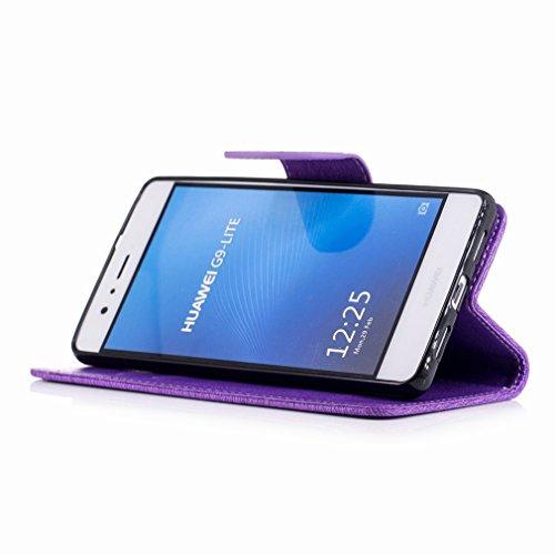Yiizy Huawei P9 Lite / G9 Lite / Honor 8 Smart Custodia Cover, Fiore Di Farfalla Design Sottile Flip Portafoglio PU Pelle Cuoio Copertura Shell Case Slot Schede Cavalletto Stile Libro Bumper Protettiv Porpora