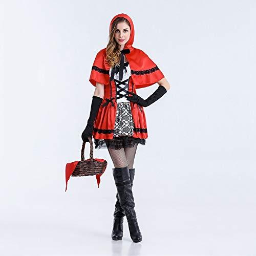 Olydmsky Weihnachtskostüm Damen,Halloween Make-up Ball cos Kostüm Erwachsene weibliche Leistung Kleid Weihnachten Prinzessin Rock (Für Halloween Rentier-make-up)