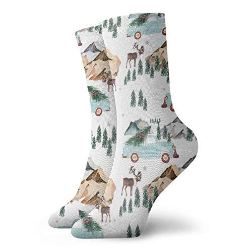Family Fun In The Mountains Women Men Classics Socks Athletic Stockings 11.8 inch Long Sock (Zella-live In)