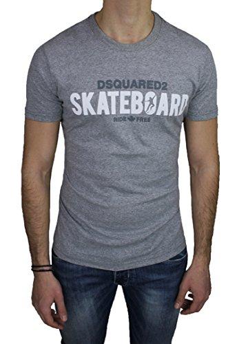 T-Shirt maglia uomo Dsquared 2 grigio girocollo maniche corte 100% cotone (L)