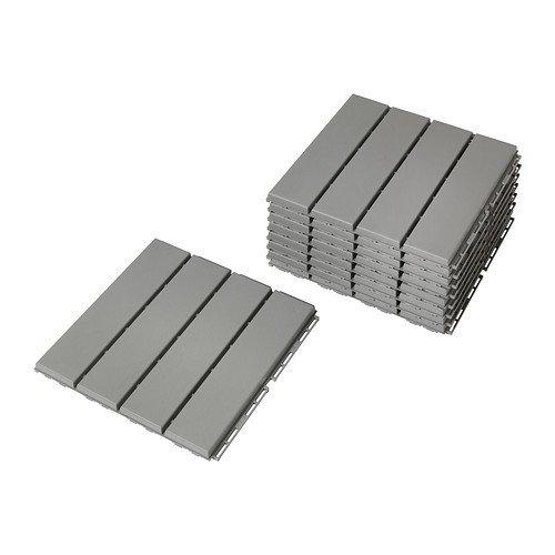 "IKEA Bodenplatten ""RUNNEN"" 9 Stück Terrassenfliesen je 30x30x2cm - 0,81 m² pro Paket - Klickfliesen in hellgrau"