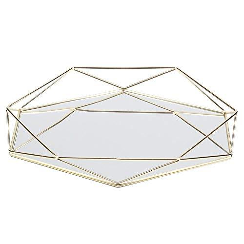 Duokon Specchio Sexangle Specchio Dorato Metallo Cosmetici Portaoggetti Portaoggetti Decorazione Gioielli Portaoggetti Vetro Metallo Organizzatore