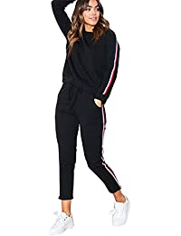 Womens Plain TRACKSUIT Pull Over Hooded top Full Length Ladies Bottom Sizes 8-24