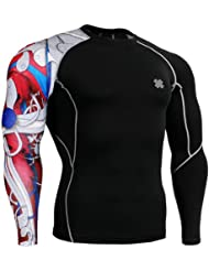 Fixgear Homme Femme Skin Tight Red Printed Baselayer Running Tee Shirts Black