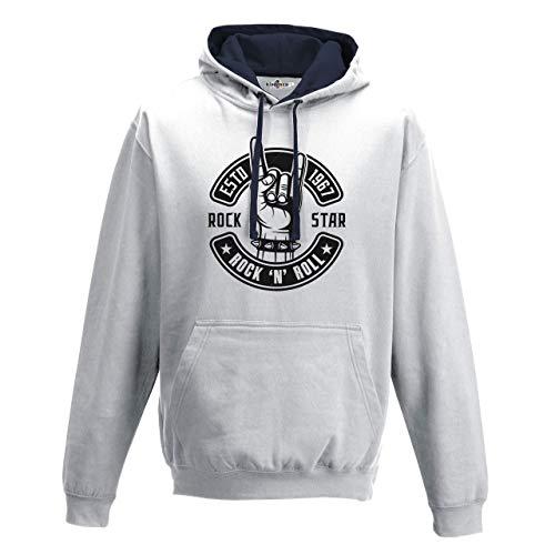 KiarenzaFD Bico Musica Hard Rock N Roll Star Heavy Metal Corna Old School, KFB02174-XXL-white, weiß, XXL - Pantera-metal-skull T-shirt