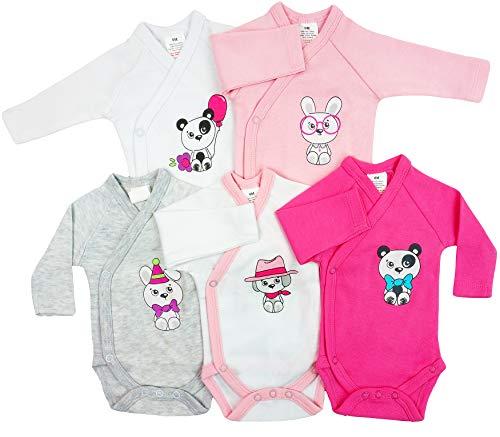 5er Pack Baby Mädchen Bodys Wickelbodys Langarm Baumwolle Gr. 62 (3M)