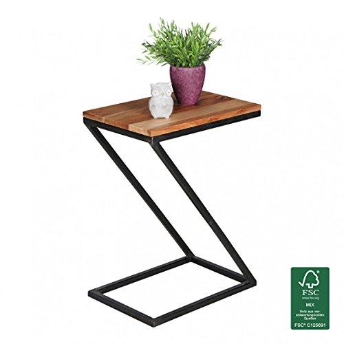 Kadimadesign Tableau Akola Z-Forme en Bois Massif Palissandre/métal 45x62x32cm | Design Pays Table Basse de Style | Add-on Table carrée de Plateau de Table