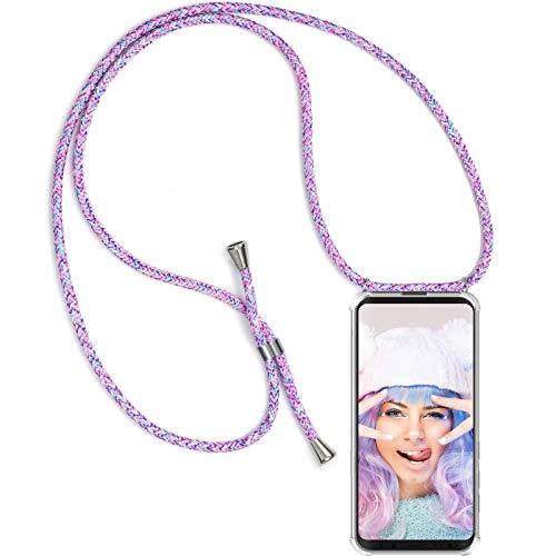 ZhinkArts Handykette kompatibel mit Samsung Galaxy S8 - Smartphone Necklace Hülle mit Band - Schnur mit Case zum umhängen in Unicorn (Mit Taschen Seil -)