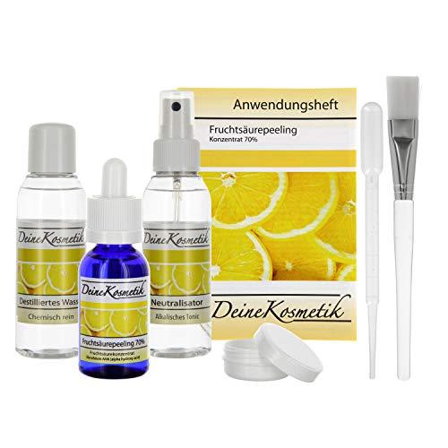 Fruchtsäurepeeling 70%, 0,5 pH, Sofort-Starter-Set, Profiheimbehandlung, AHA Glycolsäure Peeling, große Größe - Aha-gesichts-creme
