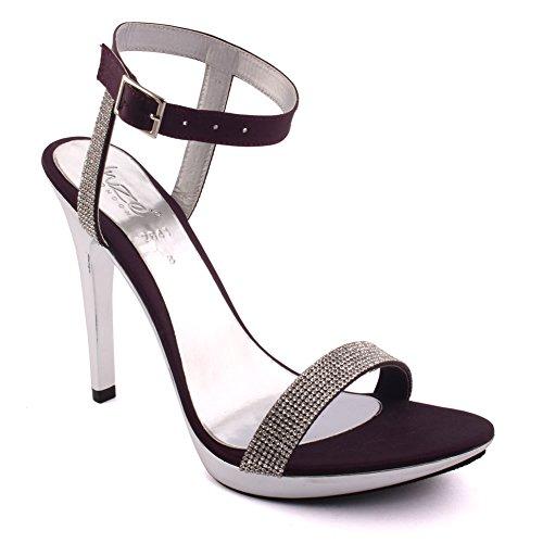 Unze Le donne 'Stella' tacchi a spillo abbelliti da promenade del partito di sera dei sandali da sposa Scarpe FORMATO BRITANNICO 3-8 Viola