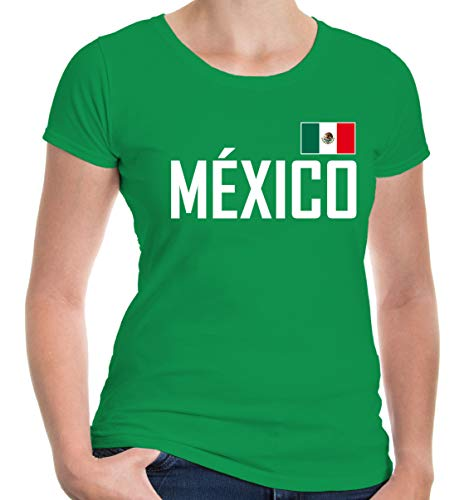 buXsbaum® Damen Girlie T-Shirt Mexiko   México Mexique Messico Amerika Ländershirt Fanshirt Trikot Reise   XXL, Grün