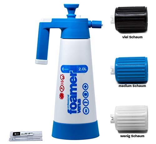 2018 er Modell mit 3 Schaumdüsen !!! Kwazar Venus Super Foamer Cleaning Pro+ Viton 2 Liter inkl. 2 extra Foam Düsen im Set mit detailmate Messbecher 2 Liter Modell