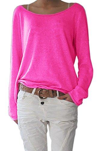 Damen Sexy Rundhalsausschnitt Langarm Lose Bluse Strickpulli Hemd Shirt Oversize Sweatshirt in vielen Trend Farben Tops S/M L/XL (632) (L/XL, Neon Rosa)