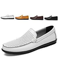 AARDIMI Mocasines Hombres Zapatos de Vestir Casuales Holgazanes Slip On Verano Plano Cuero Zapatos de Conducción Zapatillas 38-47 EU