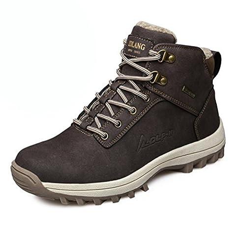 Hommes bottes de randonnée hautes Chaussures de sport en plein air garder au chaud Plus de cachemire Baskets résistant à l