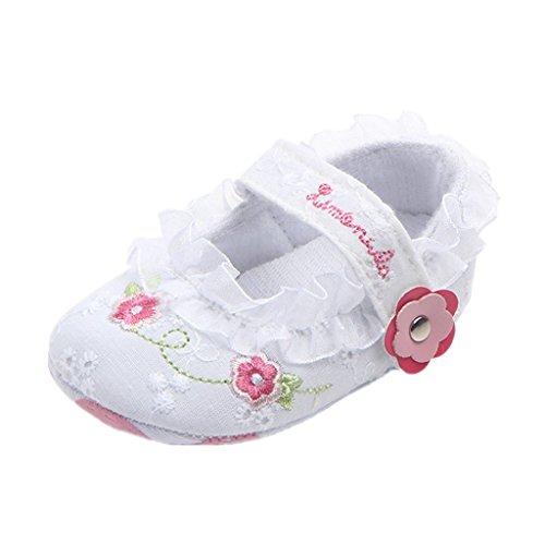 Auxma Babyschuhe Baby Mädchen Spitze Blumen Prinzessin Schuhe,Säugling Weiche Anti-Rutsch Schuhe,Baby Prewalker Schuhe für 0-6 6-12 12-18 Monate (0-6 Monate, Weiß)