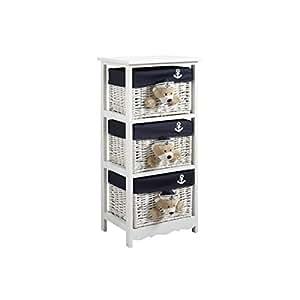 commode 3 tiroirs oursons en bois et osier 41x32x90cm cuisine maison. Black Bedroom Furniture Sets. Home Design Ideas