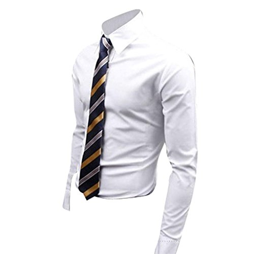 jeansian Homme Chemises Casual Shirt Tops Mode Men Slim Fit 8504 white