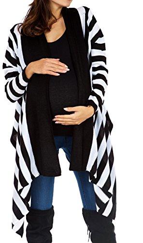 Happy Mama Femme Maternité Gilet grossesse Cardigan cascade à rayures. 316p Noir