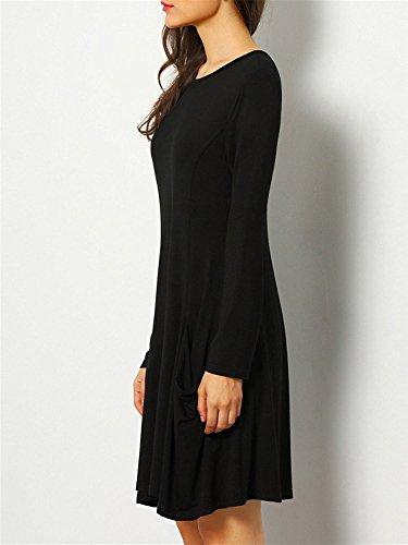 Robe Manche Longue Pull Tunique Top Lâche Uni Casual Femme - Koobea Noir