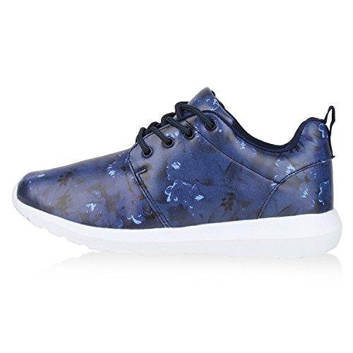 Stiefelparadies Damen Sportschuhe Muster Laufschuhe Runners Sneakers Schuhe Strass Metallic Flandell Dunkelblau Brooklyn