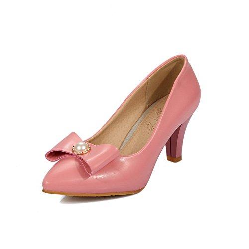 Voguezone009 Talón Medio Con Tacón Medio, Puntera Pura, Punta Estrecha, Zapatos De Ballet Rosados, Para Mujer