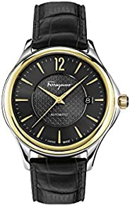 Salvatore Ferragamo Time Men's Automatic Watch With Black Dial and Black Leather Strap Fft020016, Analog D