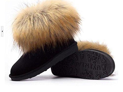 Wealsex Bottes Fourrées Doublée Chaleureux Botte De Neige Cheville Classique Mode Uni Couleur Pur Plate Chaussure De Coton Chaussures d'hiver Grande Taille 39 40 Femme Noir