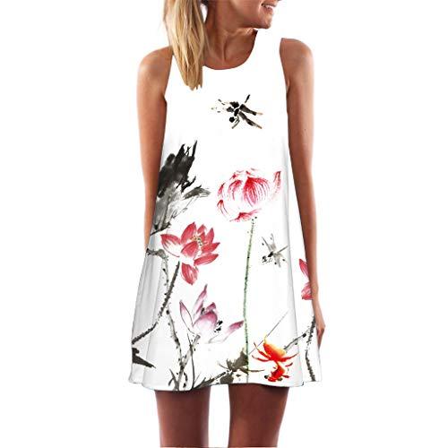 er Damen Mini A-Linie Kleider Elegant Partykleider Chinesisches Klassisches Kleid mit Rosen und Pflaumenblüten ()