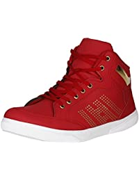 Emosis Stylish Red Black Blue White In Color Casual Party Wear Sneakers Lace-Up Boots Shoes For Men