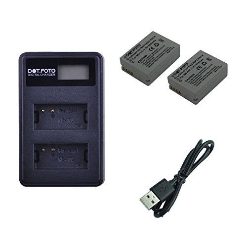 Dot.Foto Canon NB-10L Batterie (2er Pack) + schnelles Doppel USB LCD Ladegerät mit USB Kabel - passend für Canon PowerShot G1 X, G3 X, G15, G16, SX40 HS, SX50 HS, SX60 HS Smart-battery-pack