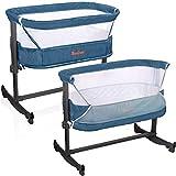 Baninni Beistellbett Babybett Kinderbett Babywiege Stubenwagen mit Schaukel Modell Nesso Höhe und Neigung einstellbar blau