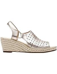 36875a076a75 Clarks Ladies Slingback Wedge Sandals Petrina Gail - Gold Leather - UK Size  7D - EU