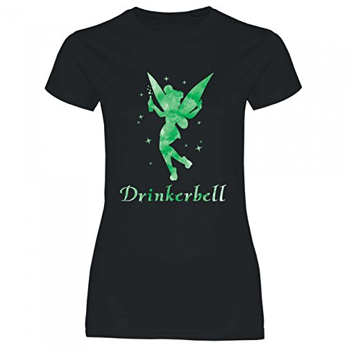 Royal Shirt a62 Damen T-Shirt Drinkerbell | Party JGA Alkohol Drinks Girly Disko Feiern, Größe:M, Farbe:Black