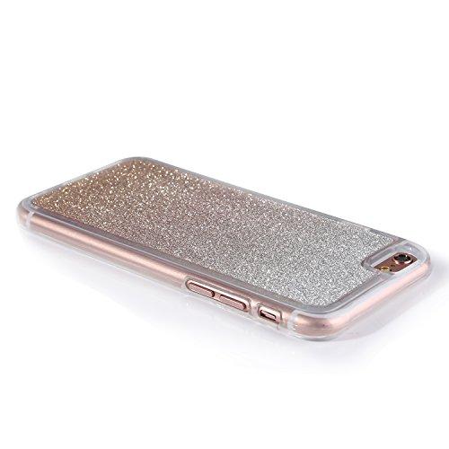 """iPhone 6s Handyhülle, Bling Glitzer Funkeln CLTPY iPhone 6 Durchsichtig Dünne Matte Gel Cover Schlanke Hybrid Stoßdämpfende & Kratzfeste Gummi Case mit Kippständer für 4.7"""" Apple iPhone 6/6s + 1 x Sch Rose Gold"""