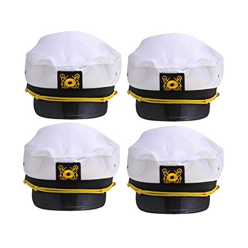 Kapitän Des Schiffes Kostüm - Amosfun 4 pcs Kapitänsmütze Kapitäns-Mütze Kapitän