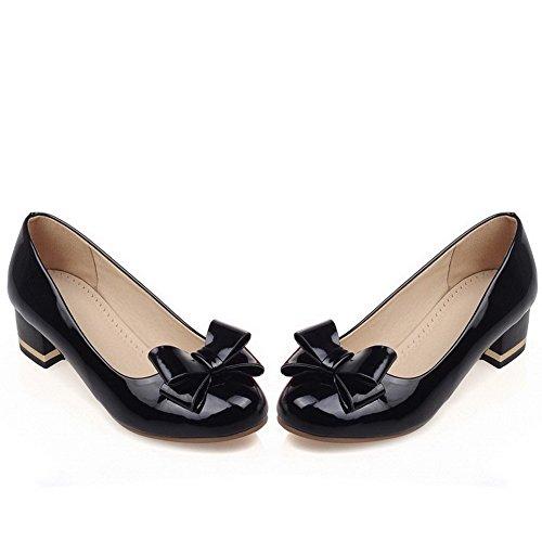 VogueZone009 Femme Rond à Talon Bas Tire Couleur Unie Chaussures Légeres Noir